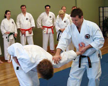 Sensei Jeff Hopping demonstarting arm bar